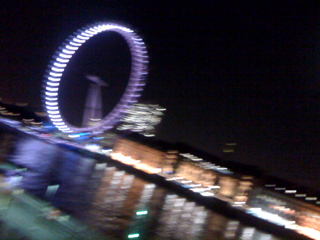 The London Eye at night. Funky!