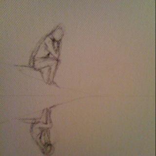 "Sneak preview sketch on canvas ""Contemplation"""